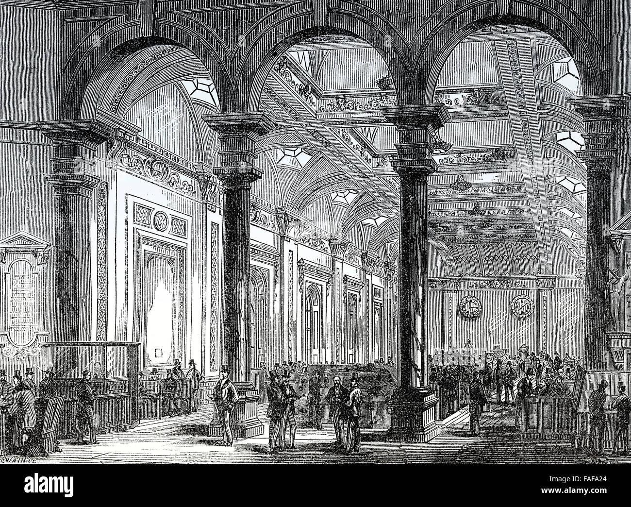 Interior of Lloyd's of London, 18th century,  an insurance market, City of London - Stock Image