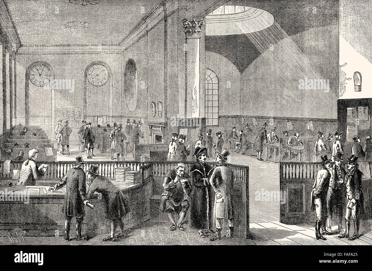 The Subscription Room, early 19th century, Lloyd's of London, an insurance market, City of London - Stock Image