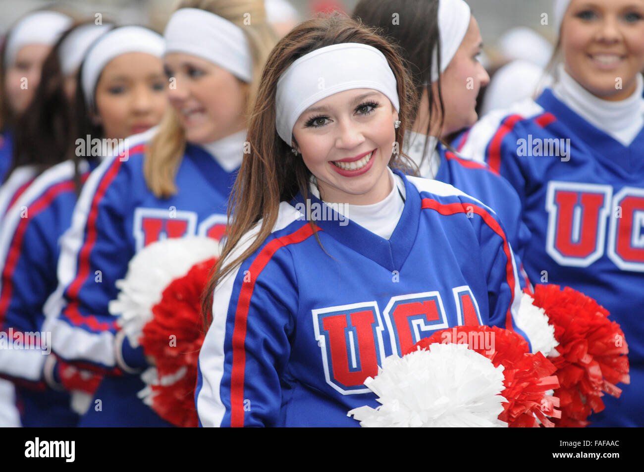 UCA Cheerleaders,London New Year Days Parade,Westminster,London UK - Stock Image