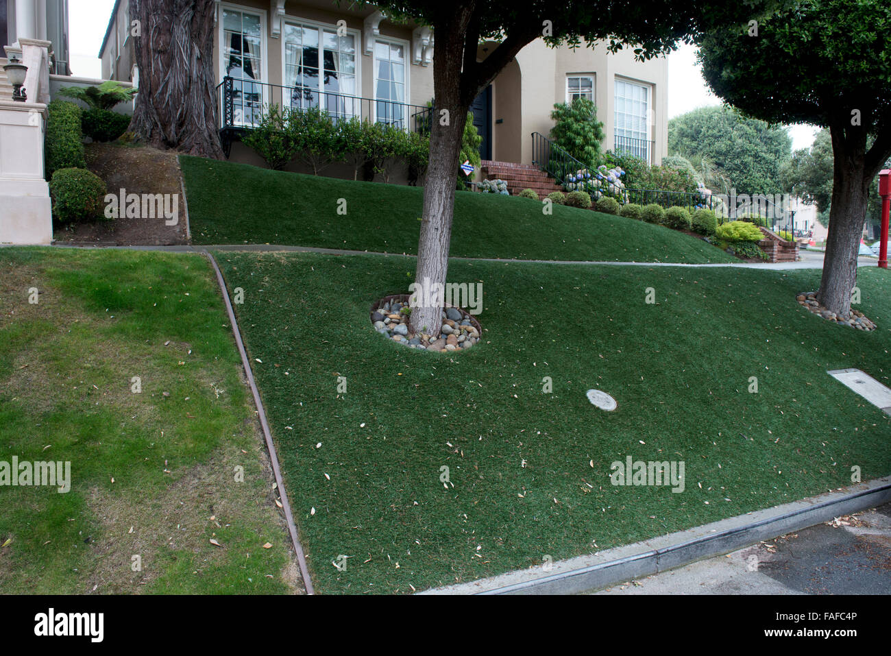Californian water shortage,drought means some have changed lawns to astroturf - Stock Image
