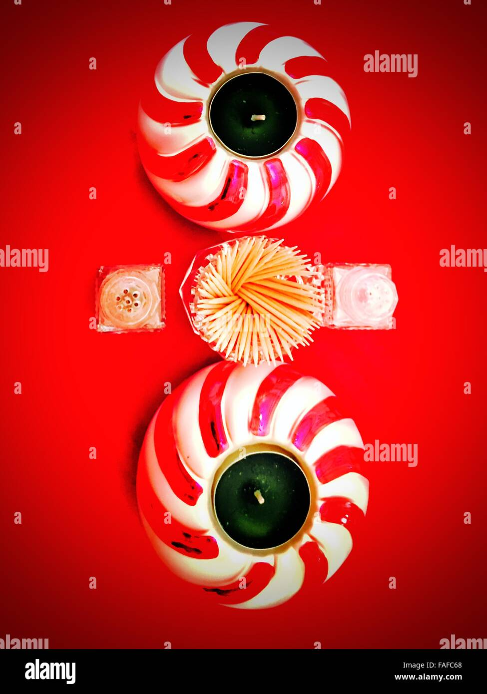 Candle holders in place for Christmas - Stock Image