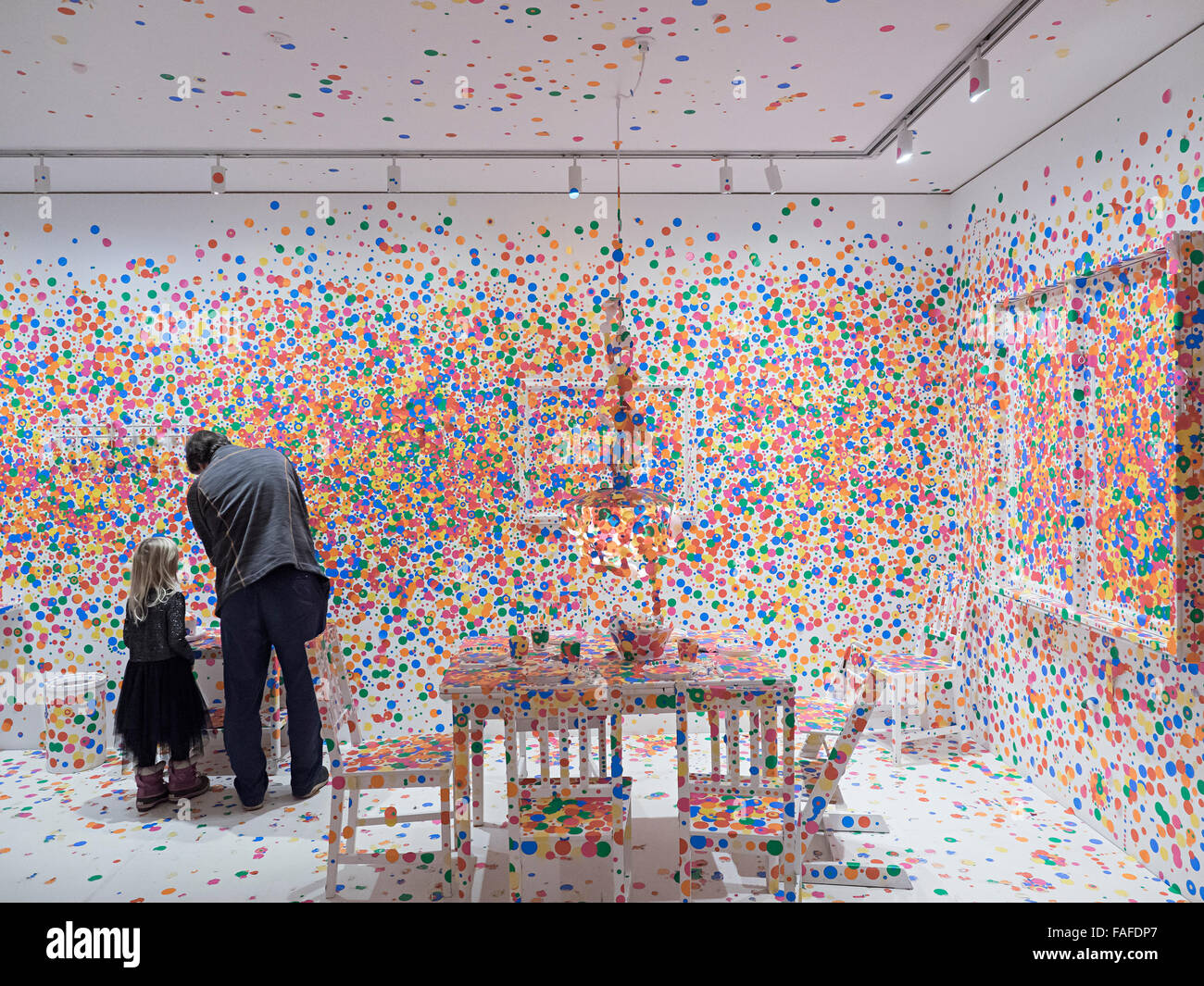 Yayoi Kusama's 'Obliteration Room' art installation at Louisiana Museum of Modern Art. FOR EDITORIAL - Stock Image