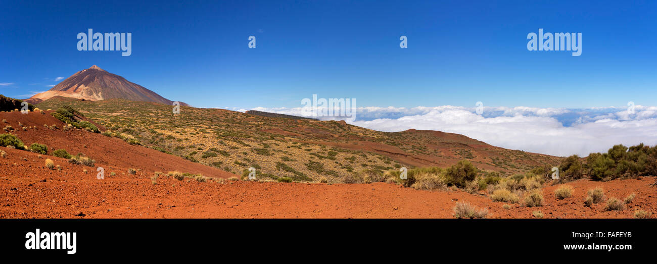 The peak of Mount Teide on Tenerife, Canary Islands, Spain above the clouds. - Stock Image