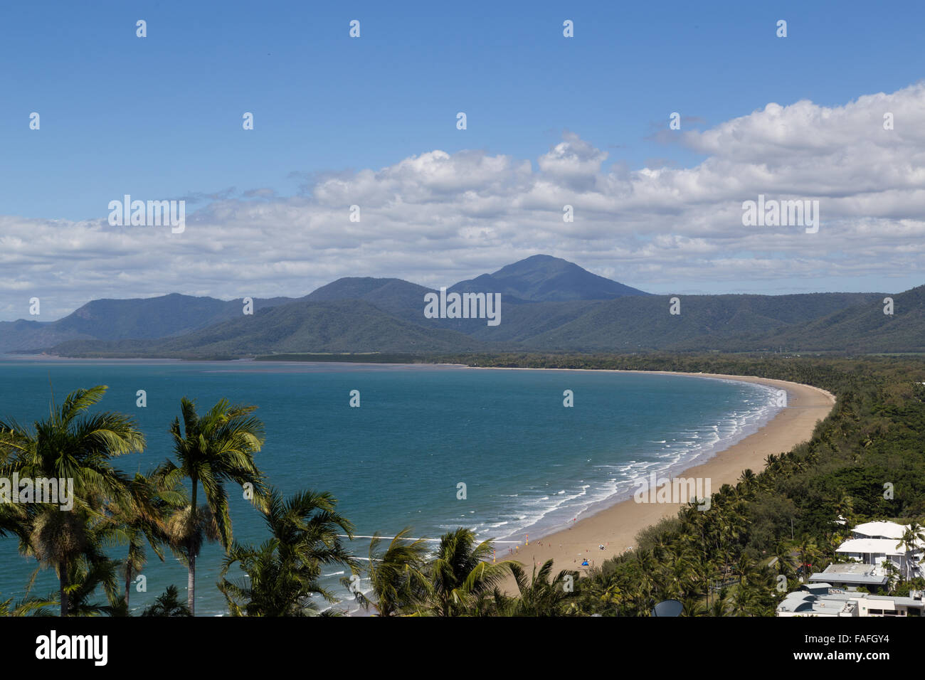 View of the beach in Port Douglas from Trinity Bay lookout in Queensland, Australia. - Stock Image