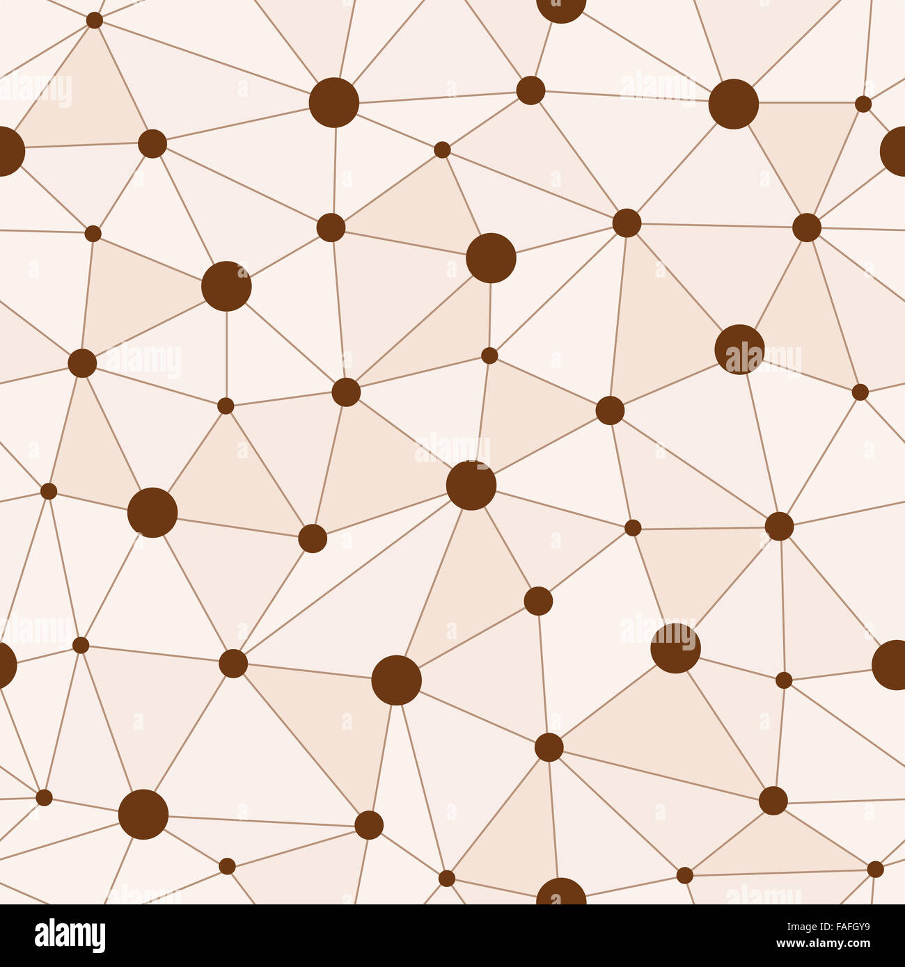 Atomic Background with Interconnected Brown Dots - Stock Image