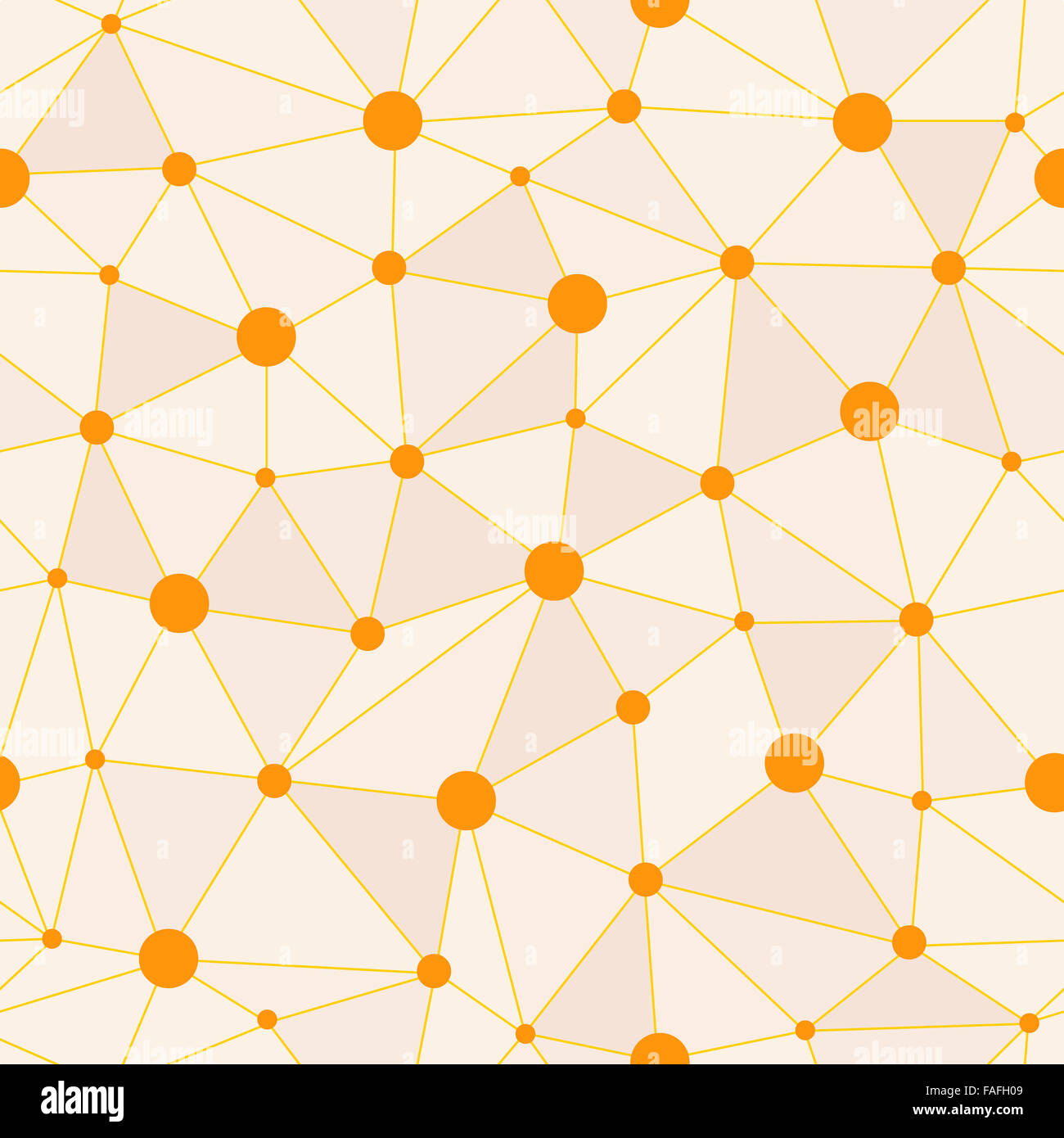 Atomic Background with Interconnected Yellow Dots - Stock Image