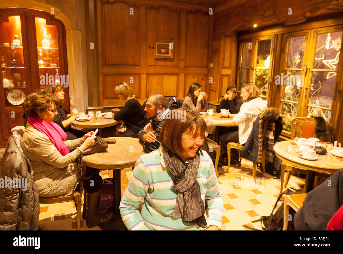 People having afternoon tea; Christian Salon de The ( Tea Rooms ), Strasbourg old town, Alsace France Europe - Stock Image