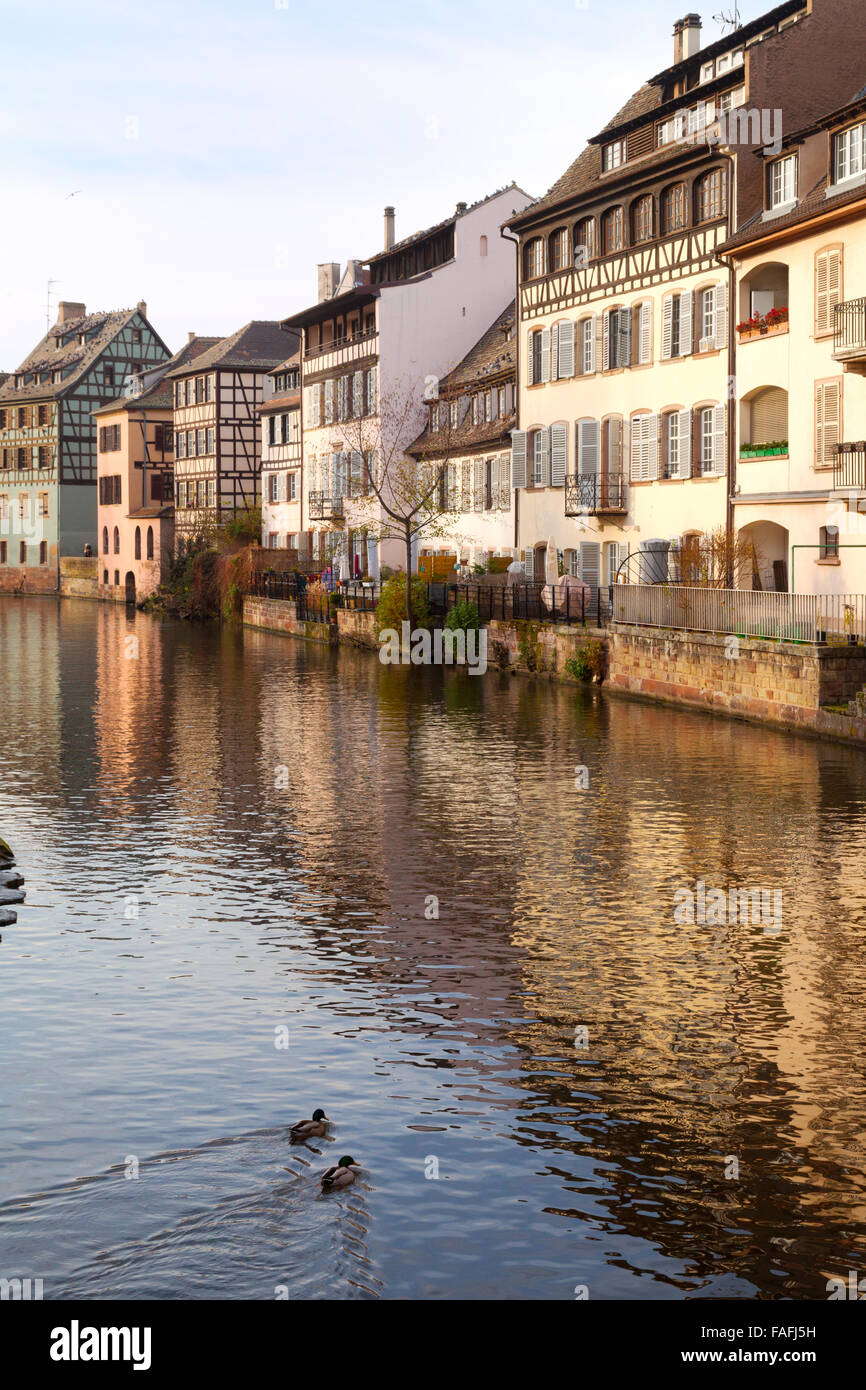 The River Ill flowing through Petite France, Strasbourg Old Town, Alsace, France Europe - Stock Image