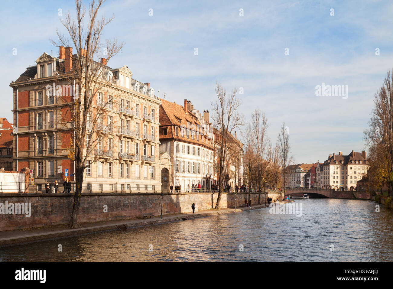 The River Ill flowing through Strasbourg Old Town, Strasbourg, Alsace France Europe - Stock Image