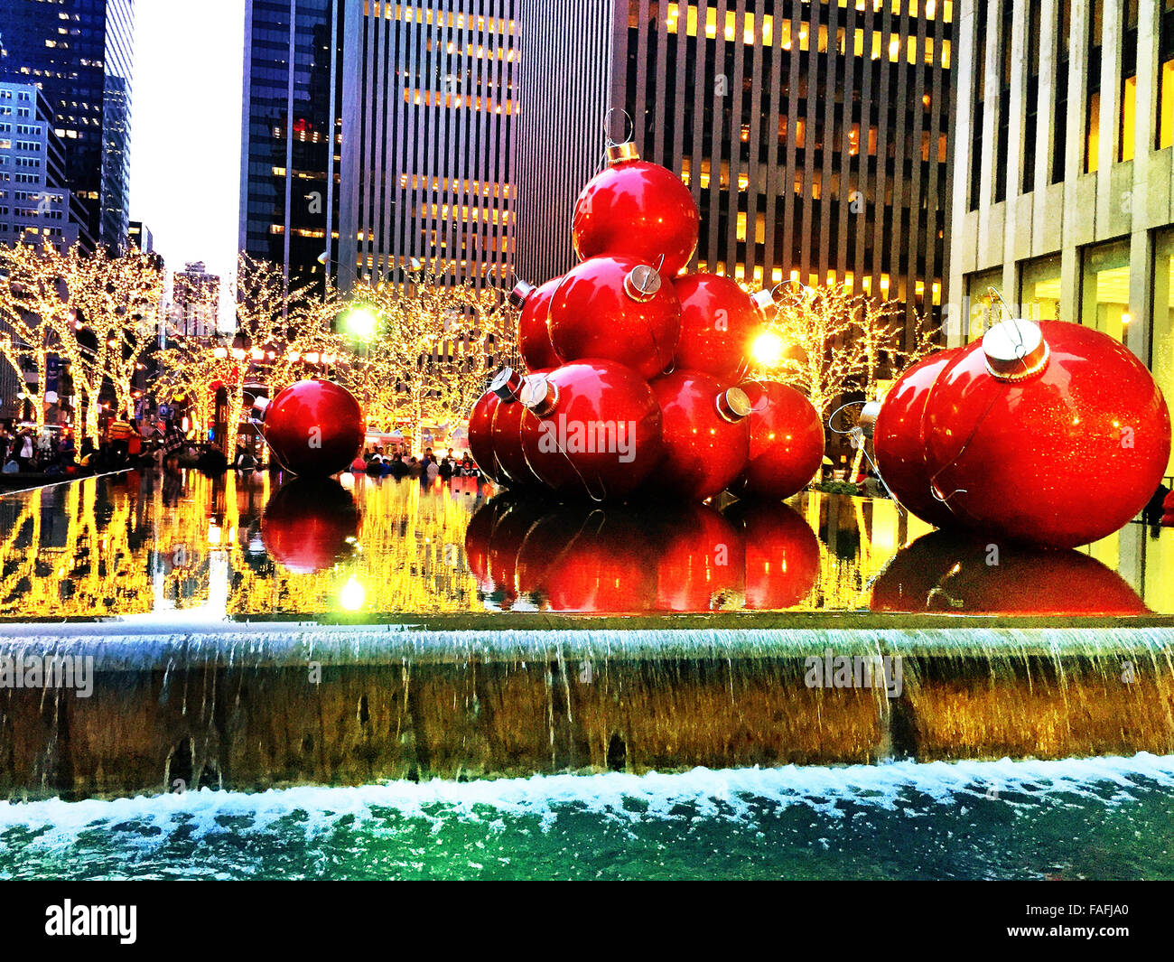 Giant Christmas Ornaments, Reflecting Pool, 1251 Avenue of the Stock ...