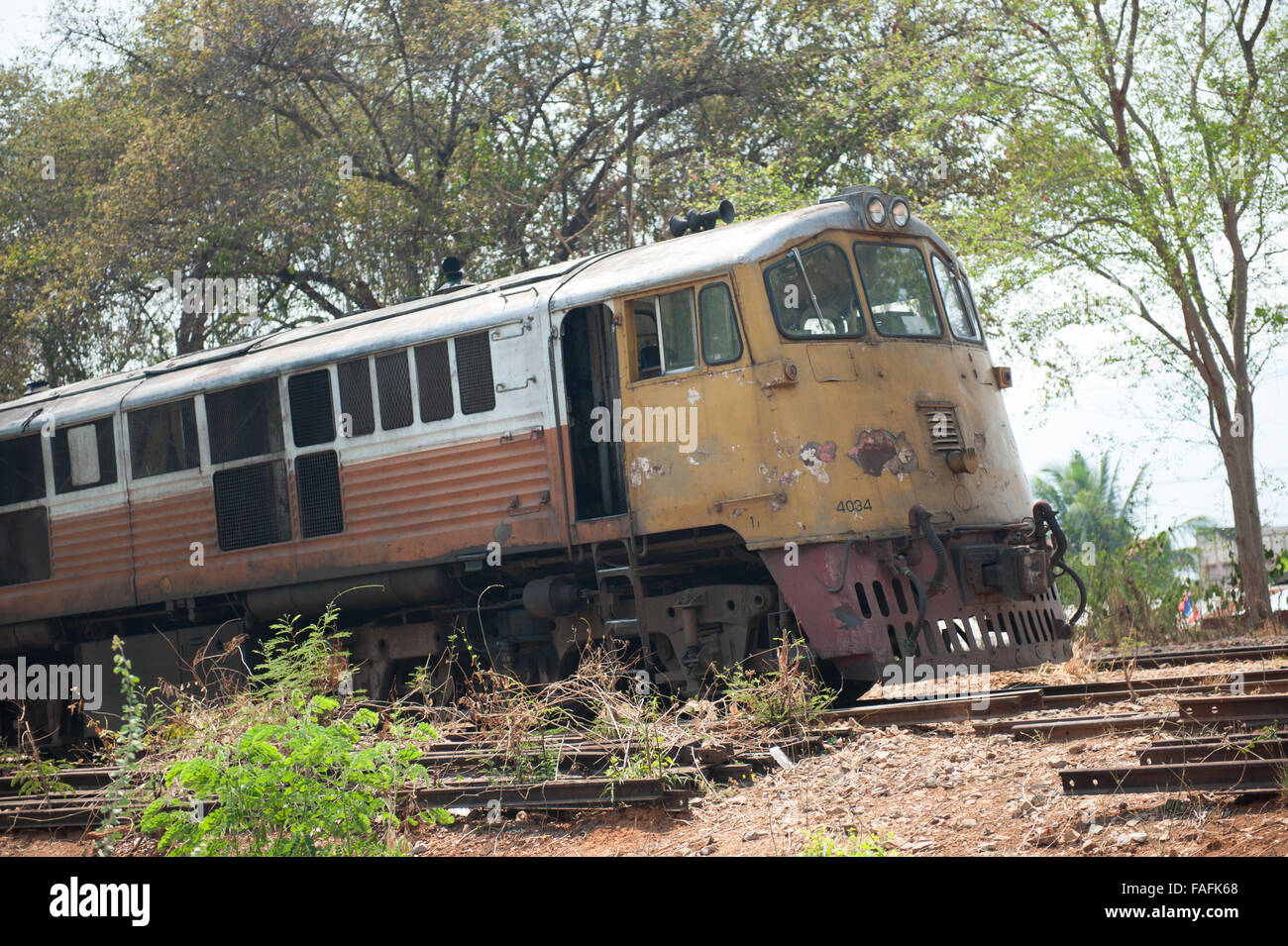 Old train in Thailand, Kanchanaburi scrapped - Stock Image