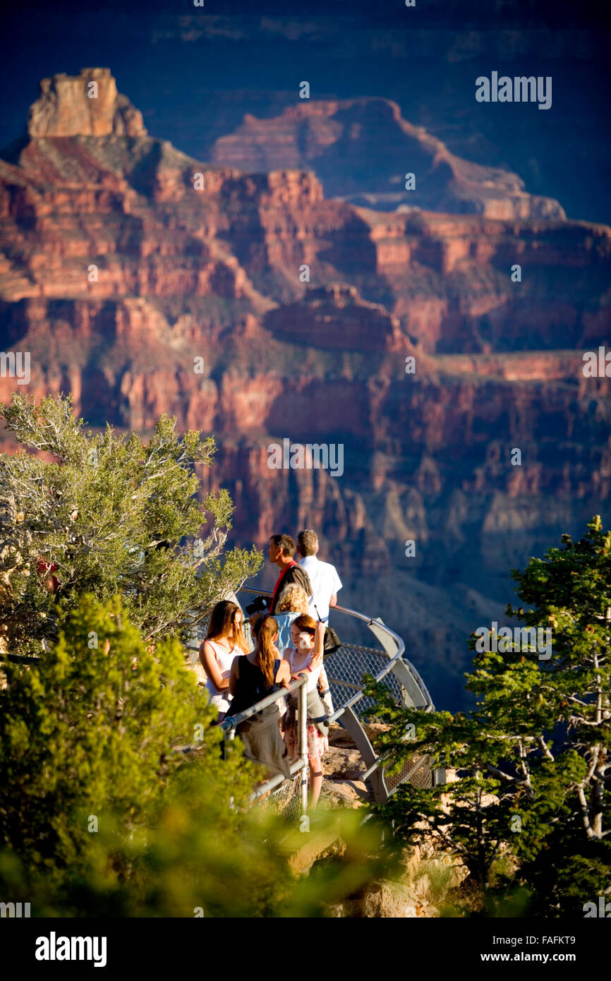 people looking at the view of the grand canyon from a lookout at sunrise. Stock Photo