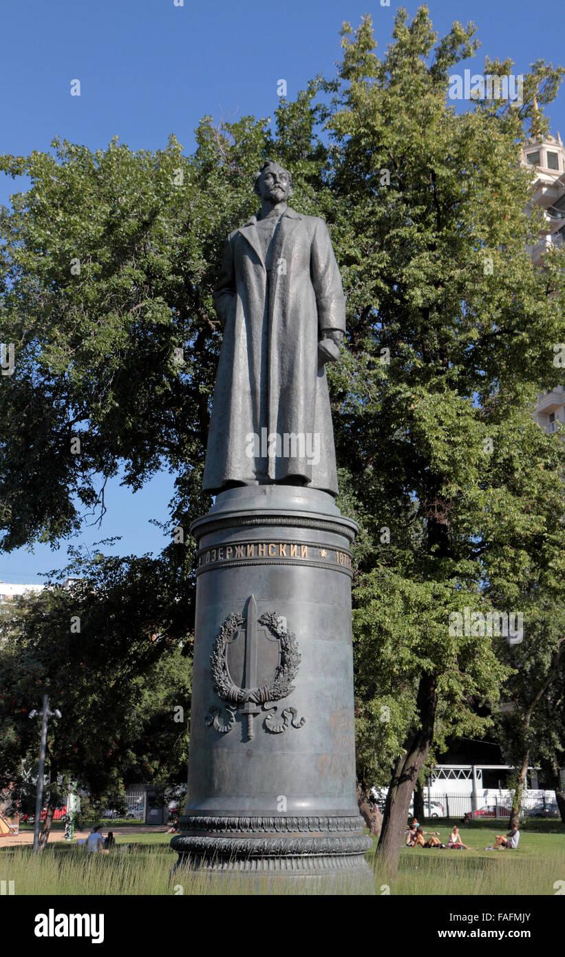 Statue of Felix Dzerzhinsky, the Soviet statesman in the Fallen Monument Park (Muzeon Park of Arts), Moscow, Russia. - Stock Image