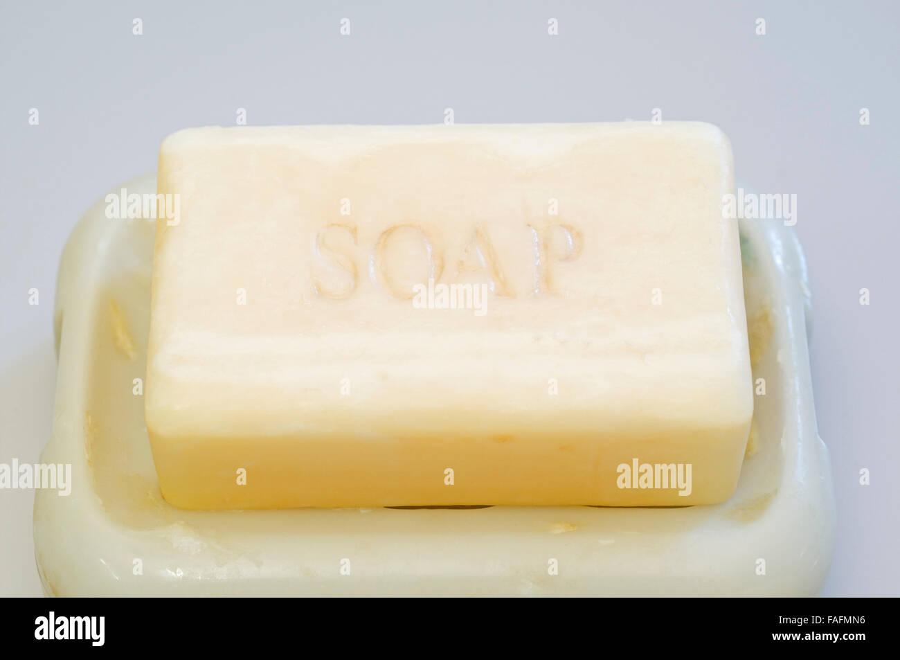 soap bar in soap dish Stock Photo
