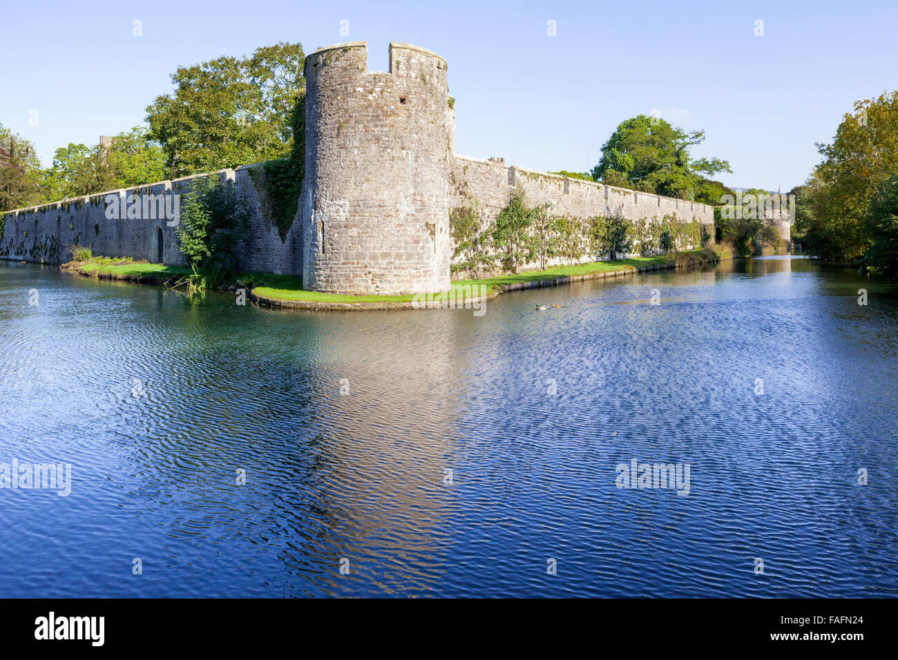 The 14th century moat surrounding the Bishops Palace in the cathedral city of Wells, Somerset UK - Stock Image