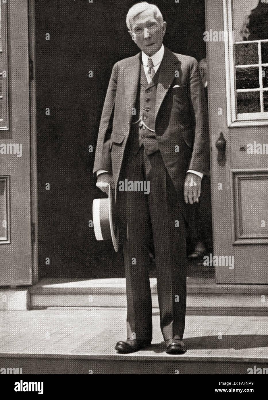John Davison Rockefeller Sr, 1839 – 1937.  American business magnate, philanthropist and co-founder of the Standard - Stock Image