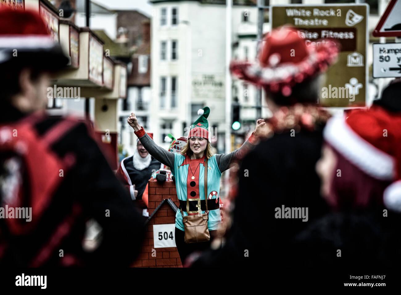 Santa Fun Run and Wacky Sleigh Race. Hastings. East Sussex. England. UK Stock Photo