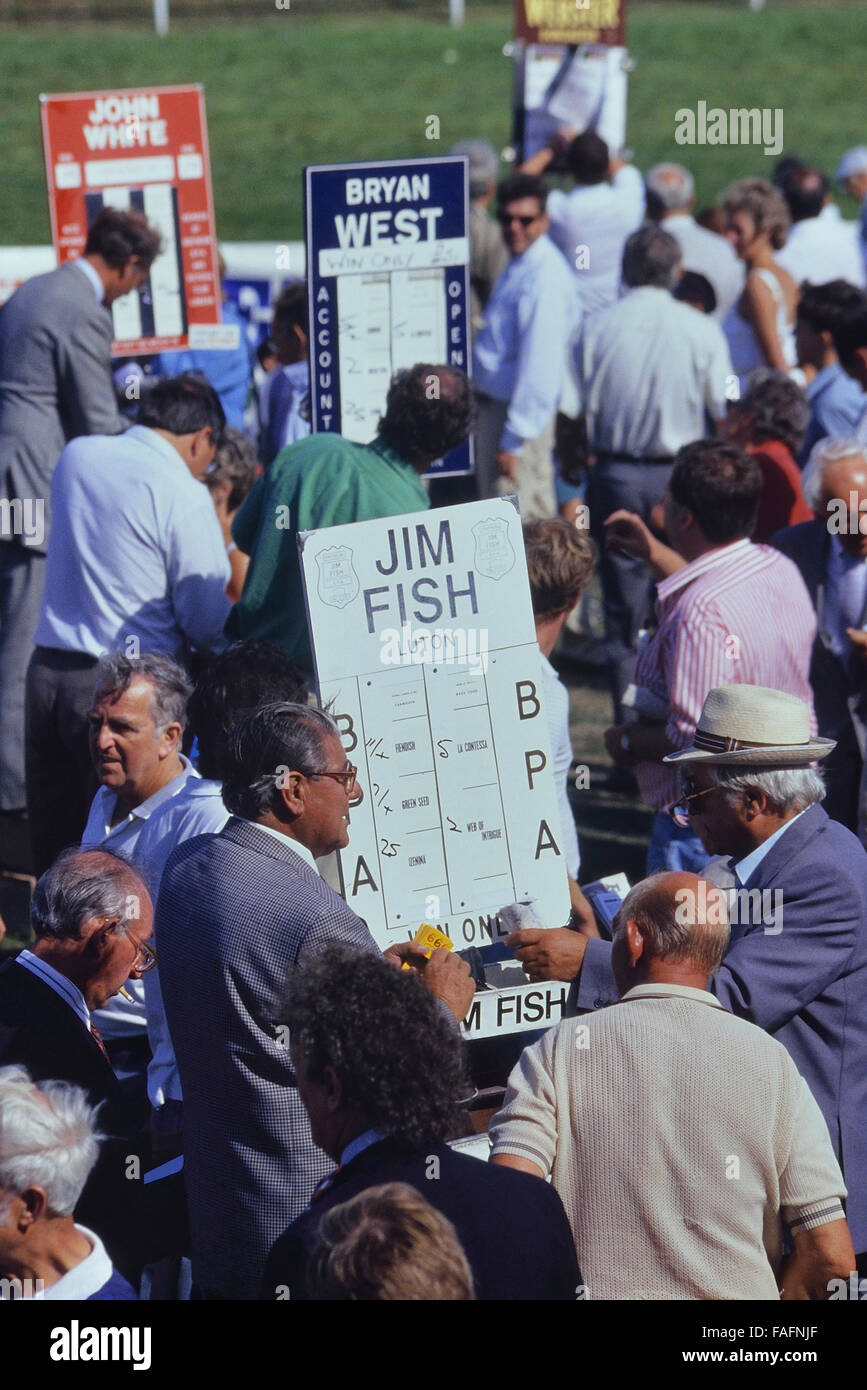 Bookmakers at Great Yarmouth racecourse. Norfolk. England. Uk. Europe Stock Photo