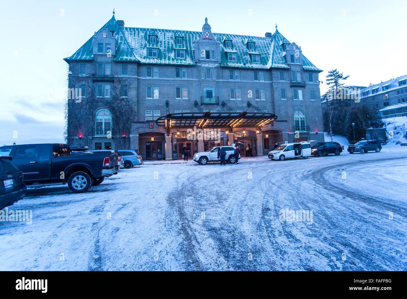 Fairmont Le Manoir Richelieu five-star luxury hotel located in La Malbaie, Charlevoix, Quebec, Canada - Stock Image