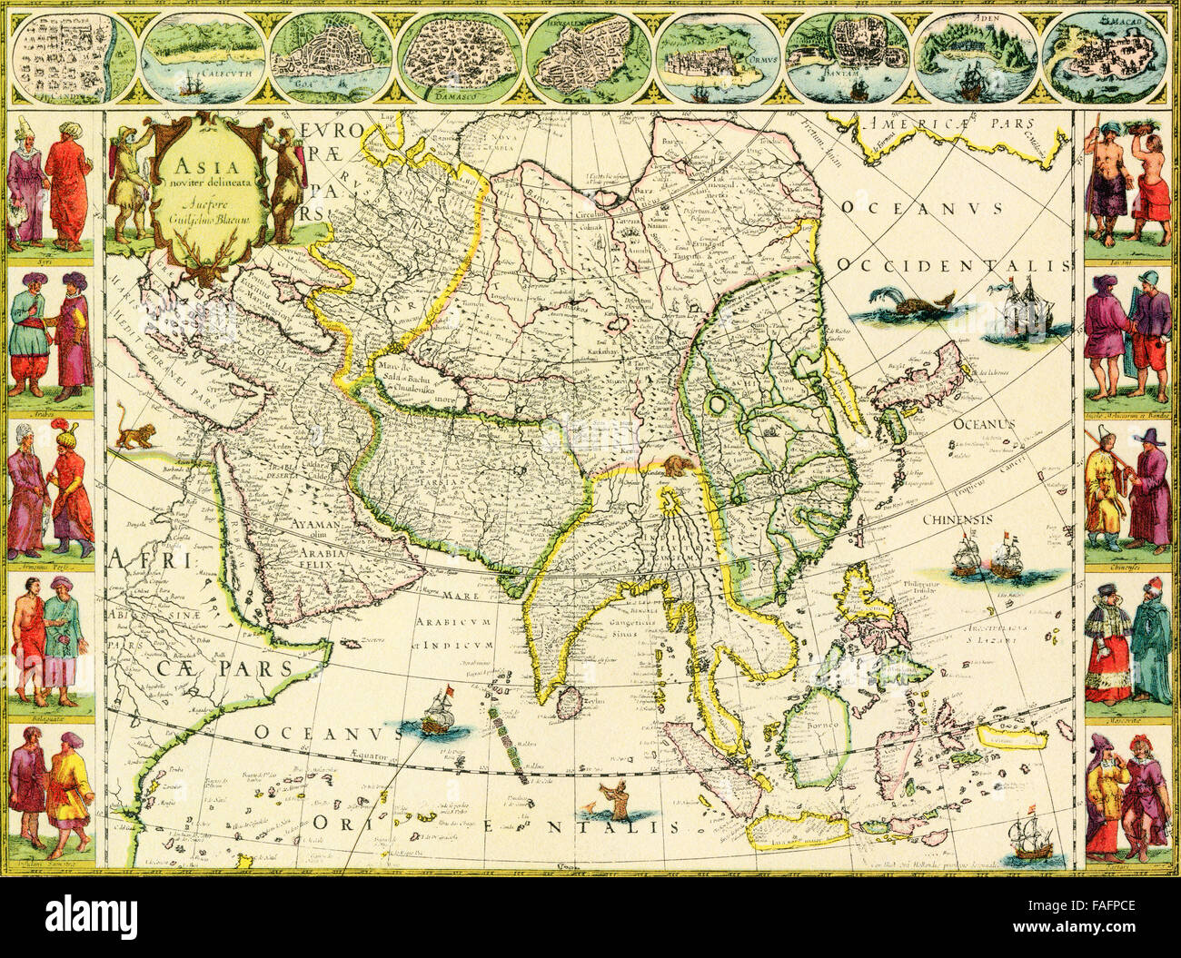 Map of Asia by J. Blaeu, 1632. - Stock Image