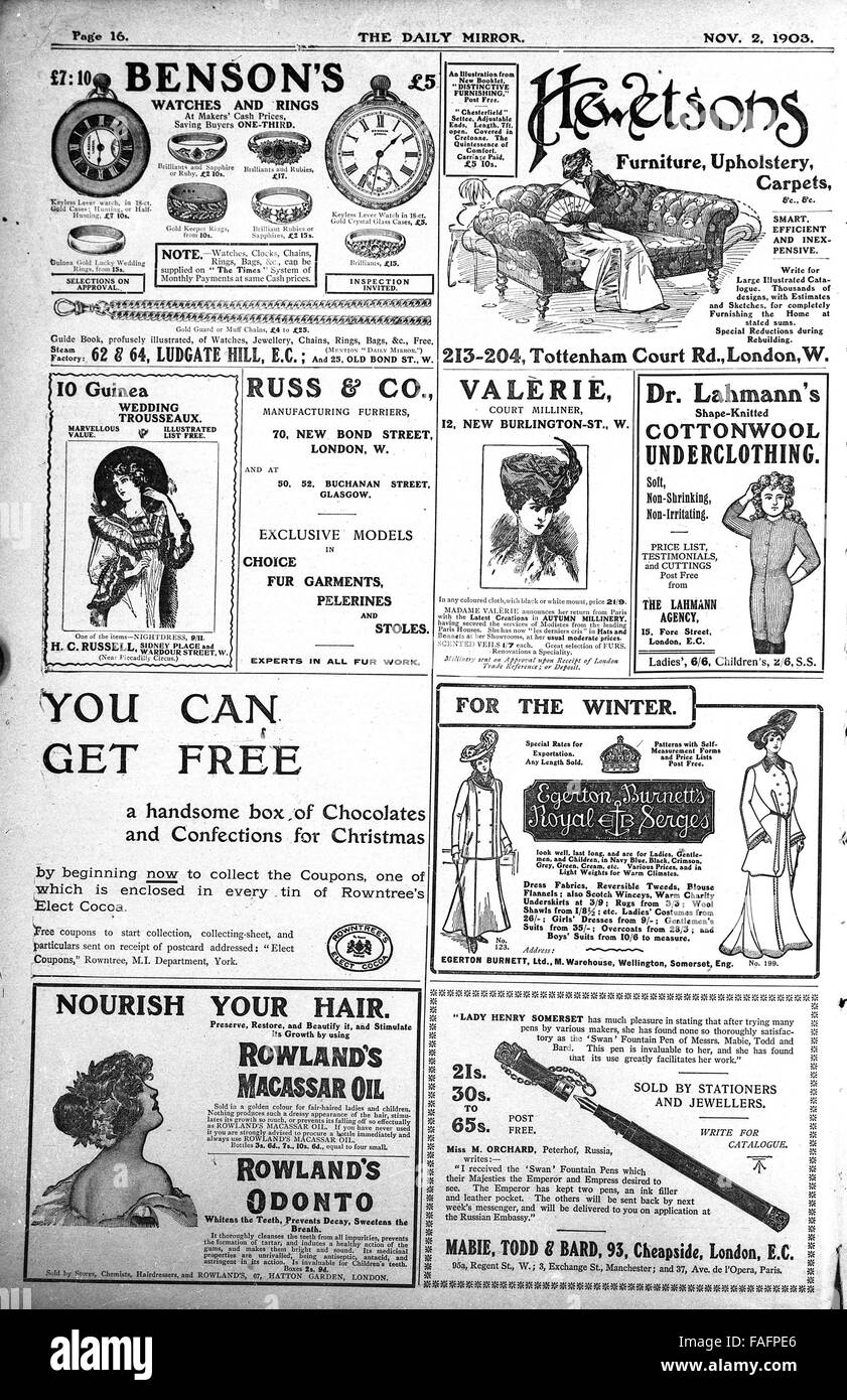 Newspaper advert adverts in the Daily Mirror published November 2nd 1903 - Stock Image