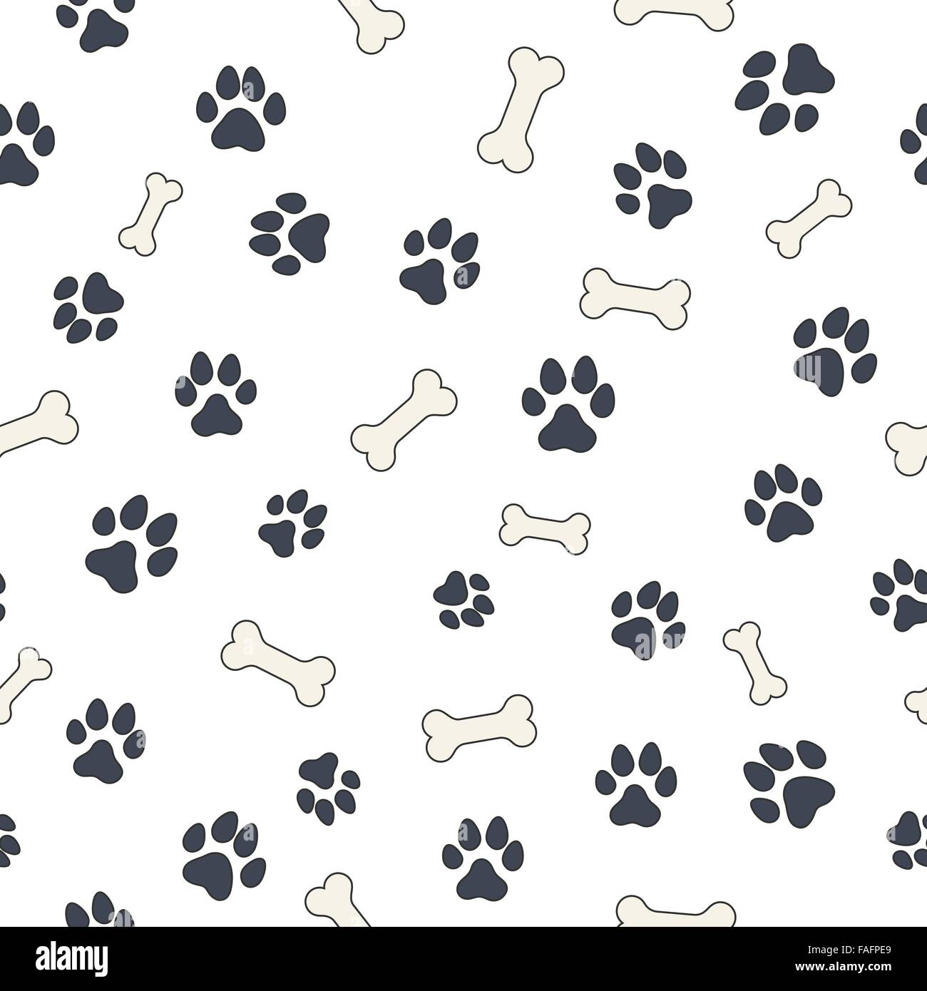 Seamless Wallpaper Pattern With Dogs Bones And Paws For Your Design