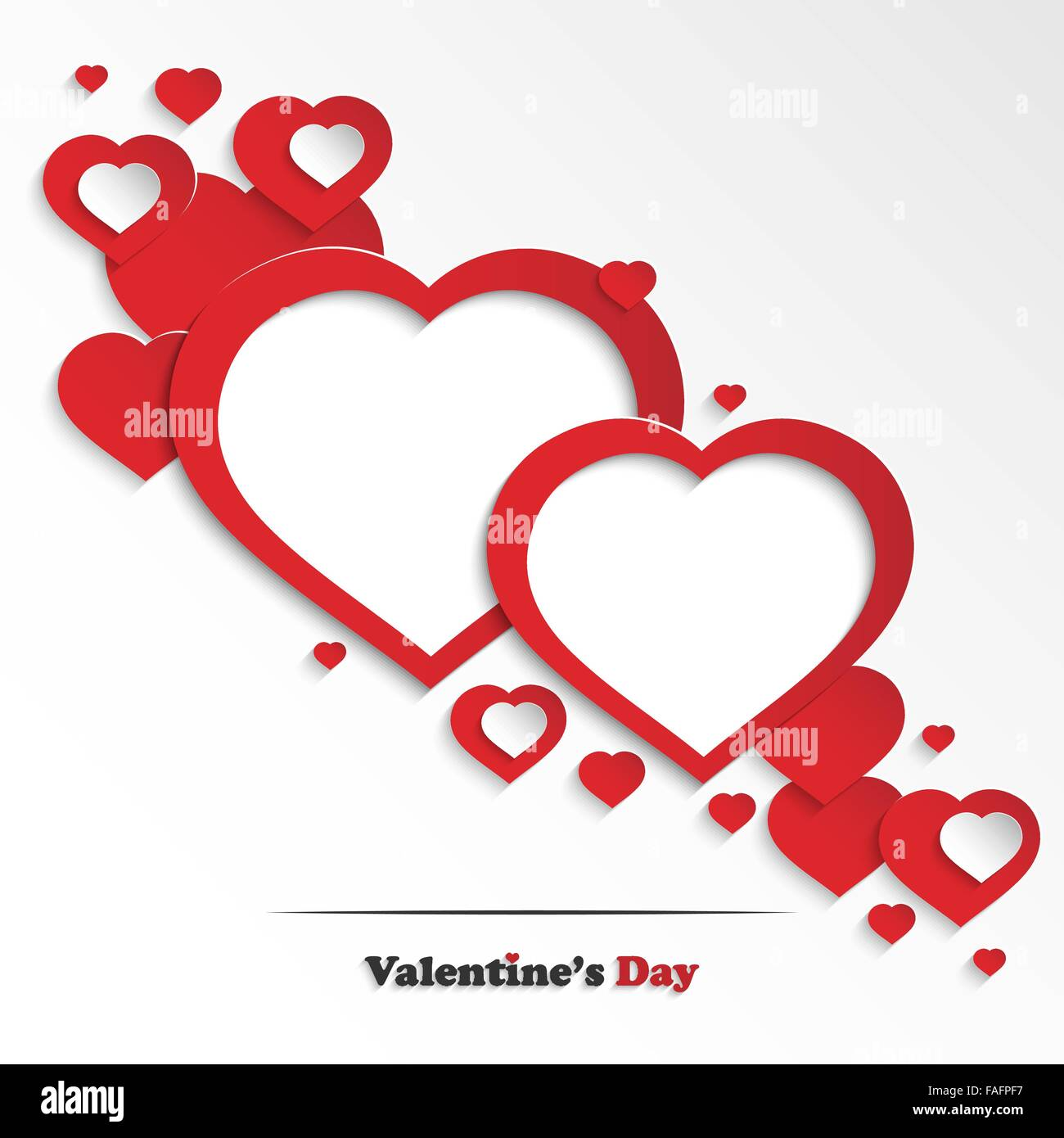 Abstract Valentine\'s day greeting card with paper hearts and two ...