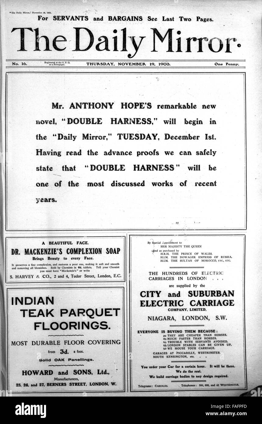 Front page newspaper advert adverts in the Daily Mirror published November 2nd 1903 - Stock Image