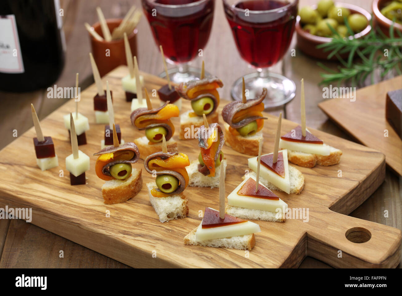tapas pinchos spanish canapes party finger food stock photo 92545369 alamy. Black Bedroom Furniture Sets. Home Design Ideas