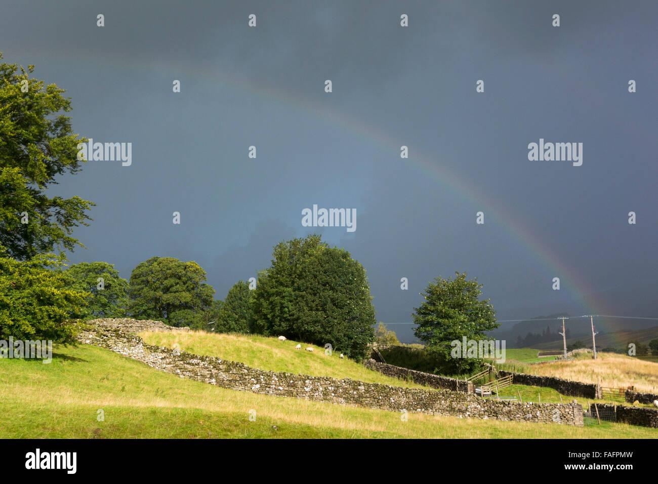Rainbow over farmland in Wensleydale, near Hawes, North Yorkshire, UK. - Stock Image