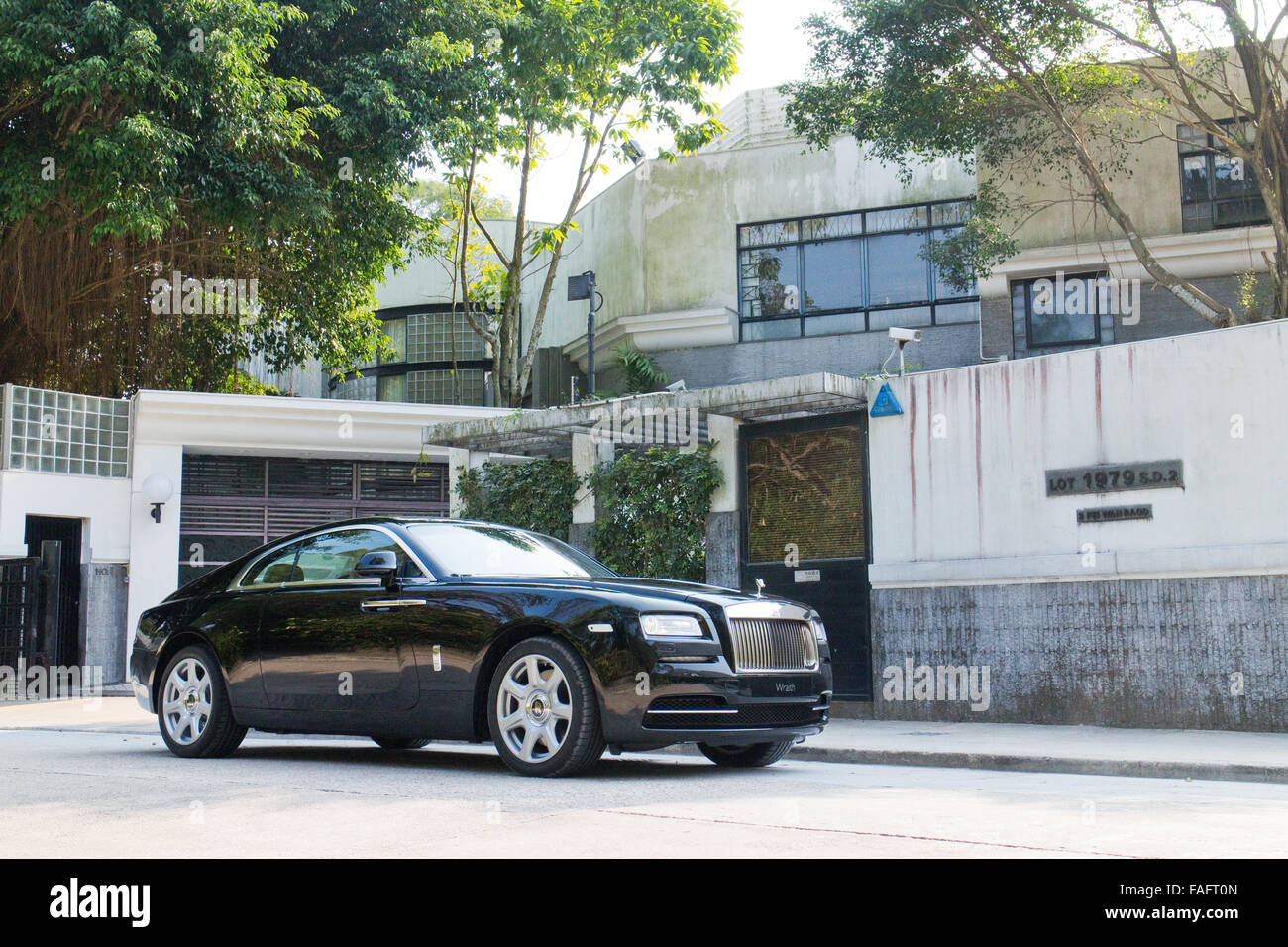 Hong Kong, China Jan 27, 2014 : Rolls-Royce Wraith Top Class Sedan 2014 Model test drive on March 27 2014 in Hong Stock Photo