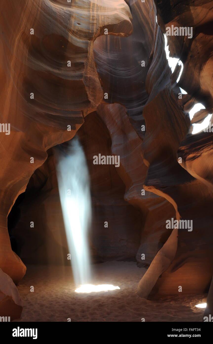 Upper Antelope Slot Canyon Light Beam - Stock Image