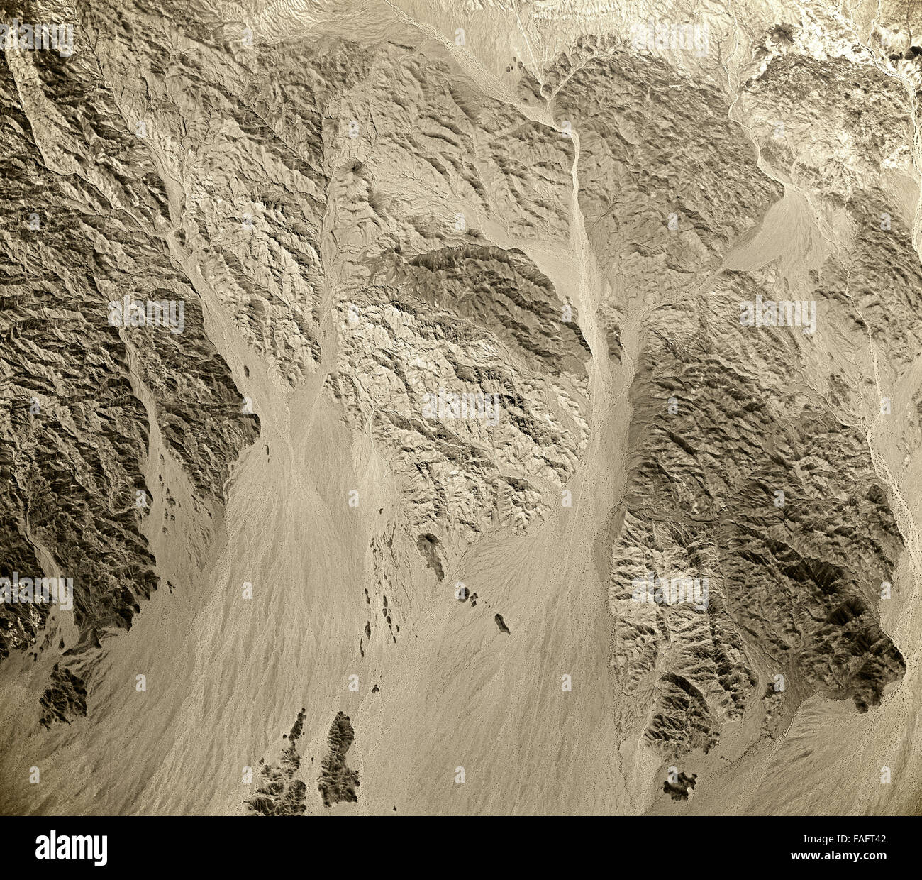 historical aerial photograph of desert and mountains east of Salton Sea, Imperial County, California, 1954 - Stock Image
