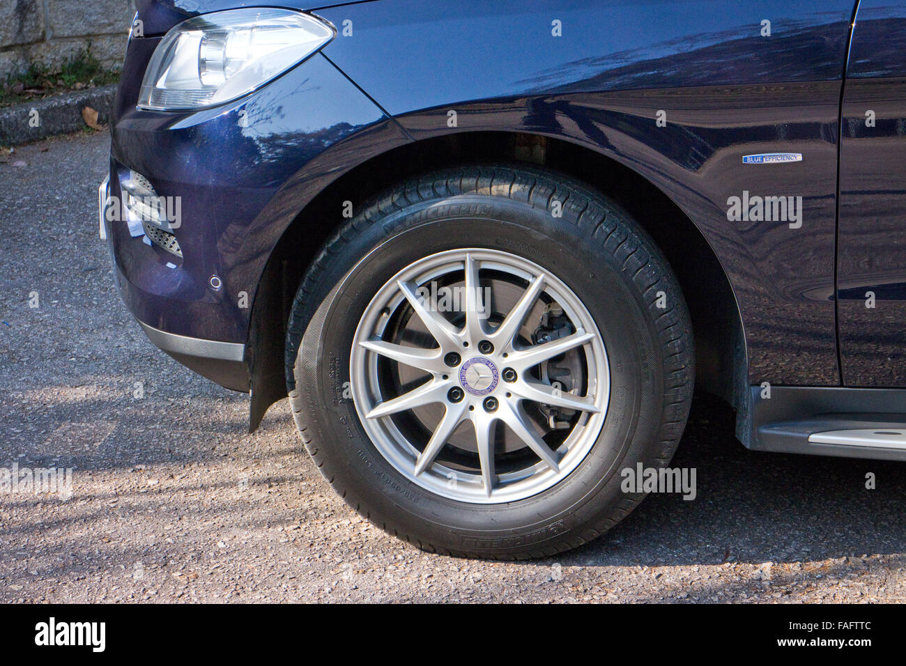 Hong Kong, China Jan 27, 2014 : Mercedes-Benz ML-Class BlueTec 2014 Model wheel on March 27 2014 in Hong Kong. Stock Photo