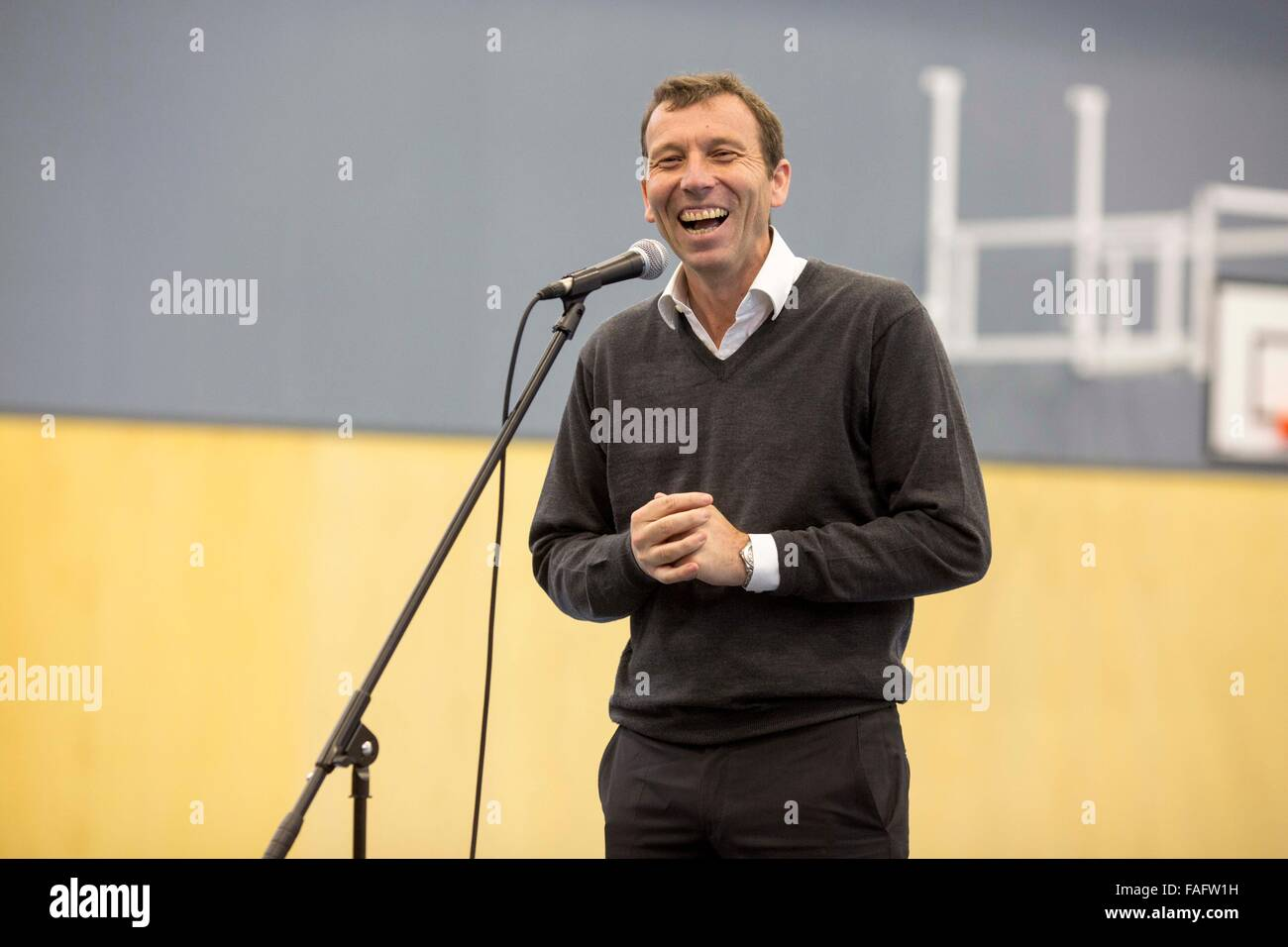 Former pupil Mike Atherton at Manchester Grammar School - Stock Image