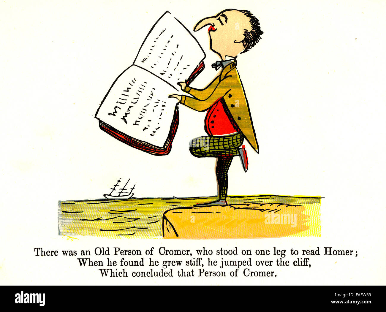 There was an Old Person of Cromer - an illustrated limerick by Edward Lear - Stock Image