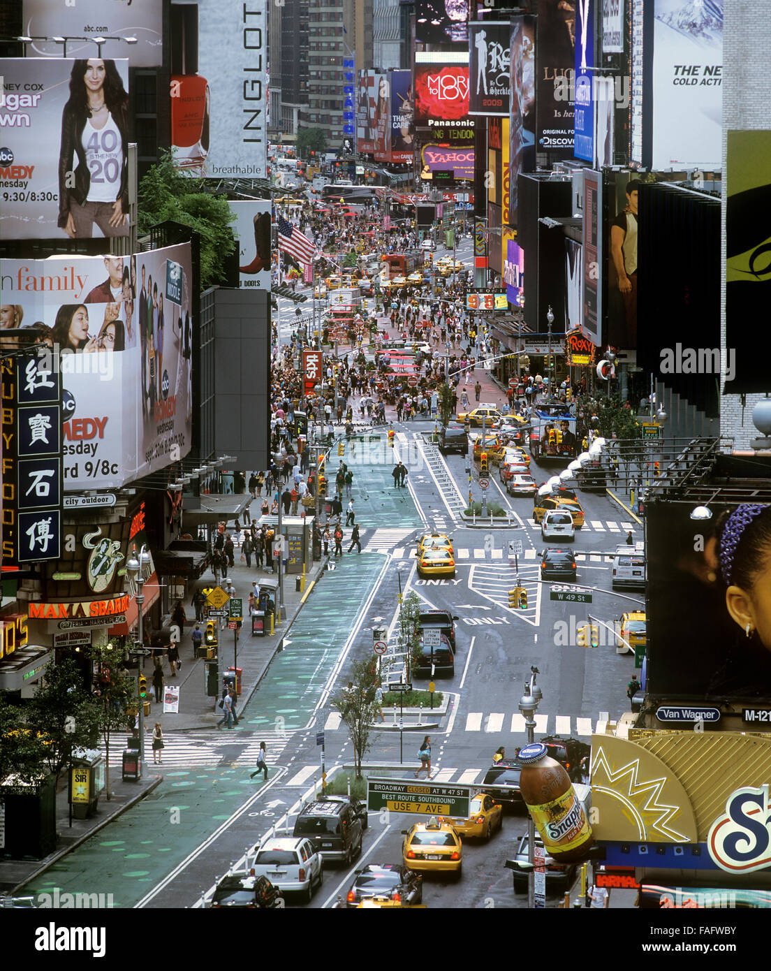 Traffic reduction and pedestrianisation on Broadway, New York City: the green lane is former road, now reserved - Stock Image