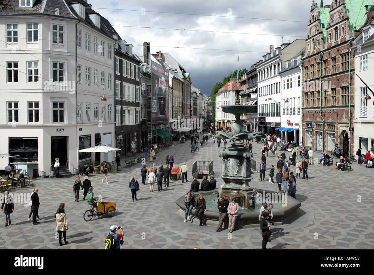 Pedestrian zone in Amagertorv in the centre of Copenhagen, Denmark. Part of Stroget - Copenhagen's network of - Stock Image