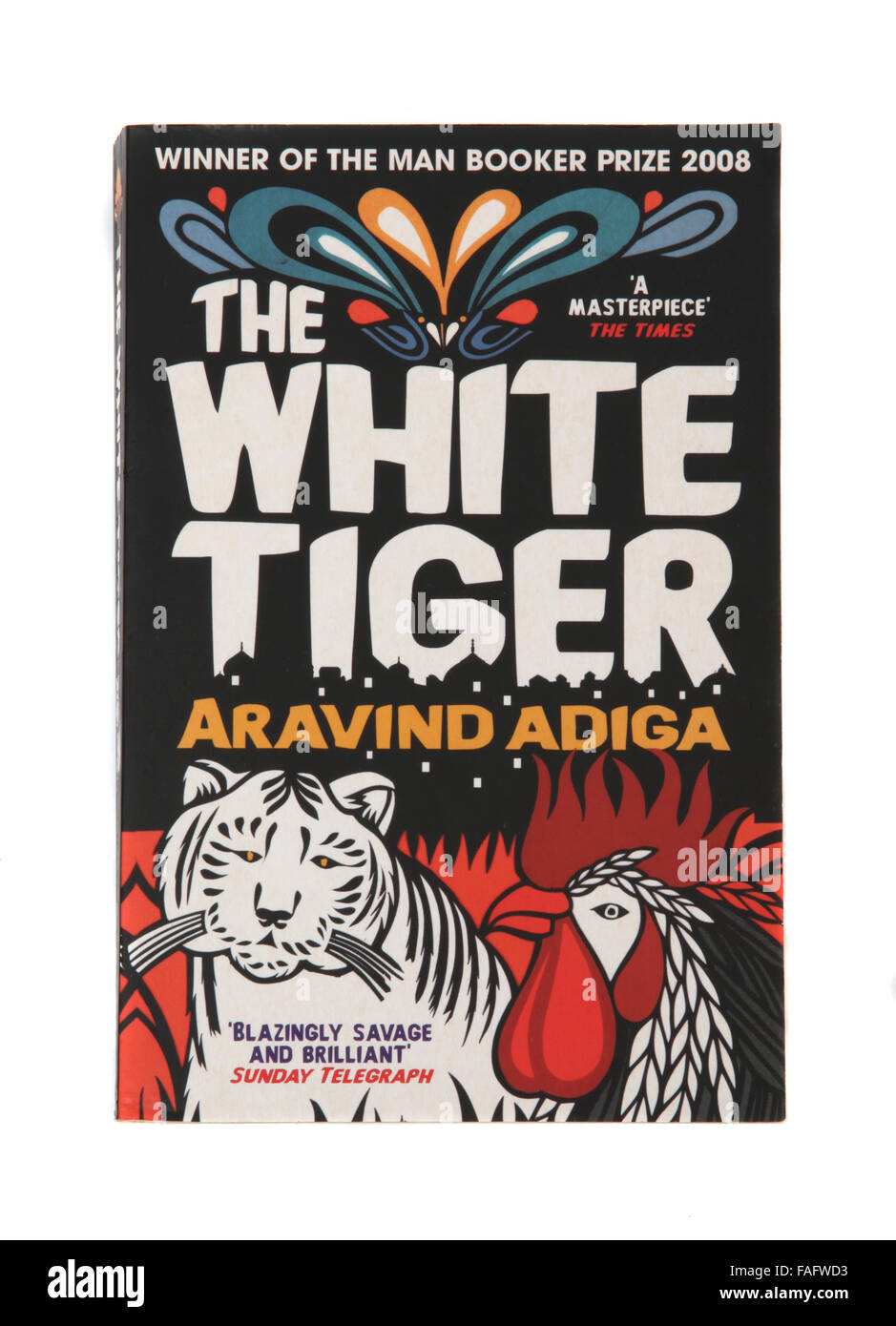 The book - The White Tiger by Aravind Adiga. Winner of The Man Booker Prize 2008 - Stock Image