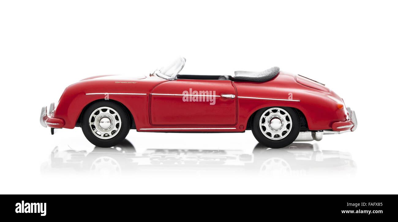 Old Corgi Scale Model  Porsche 356 Speedster on a white background - Stock Image