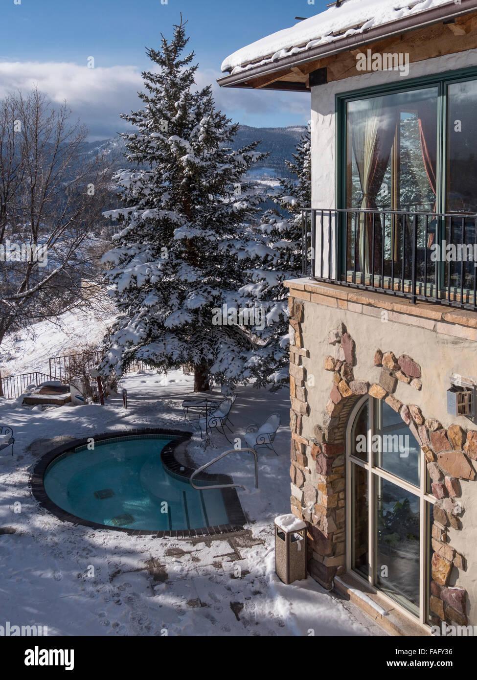 Hot tub, winter, Lodge and Spa at Cordillera, Edwards