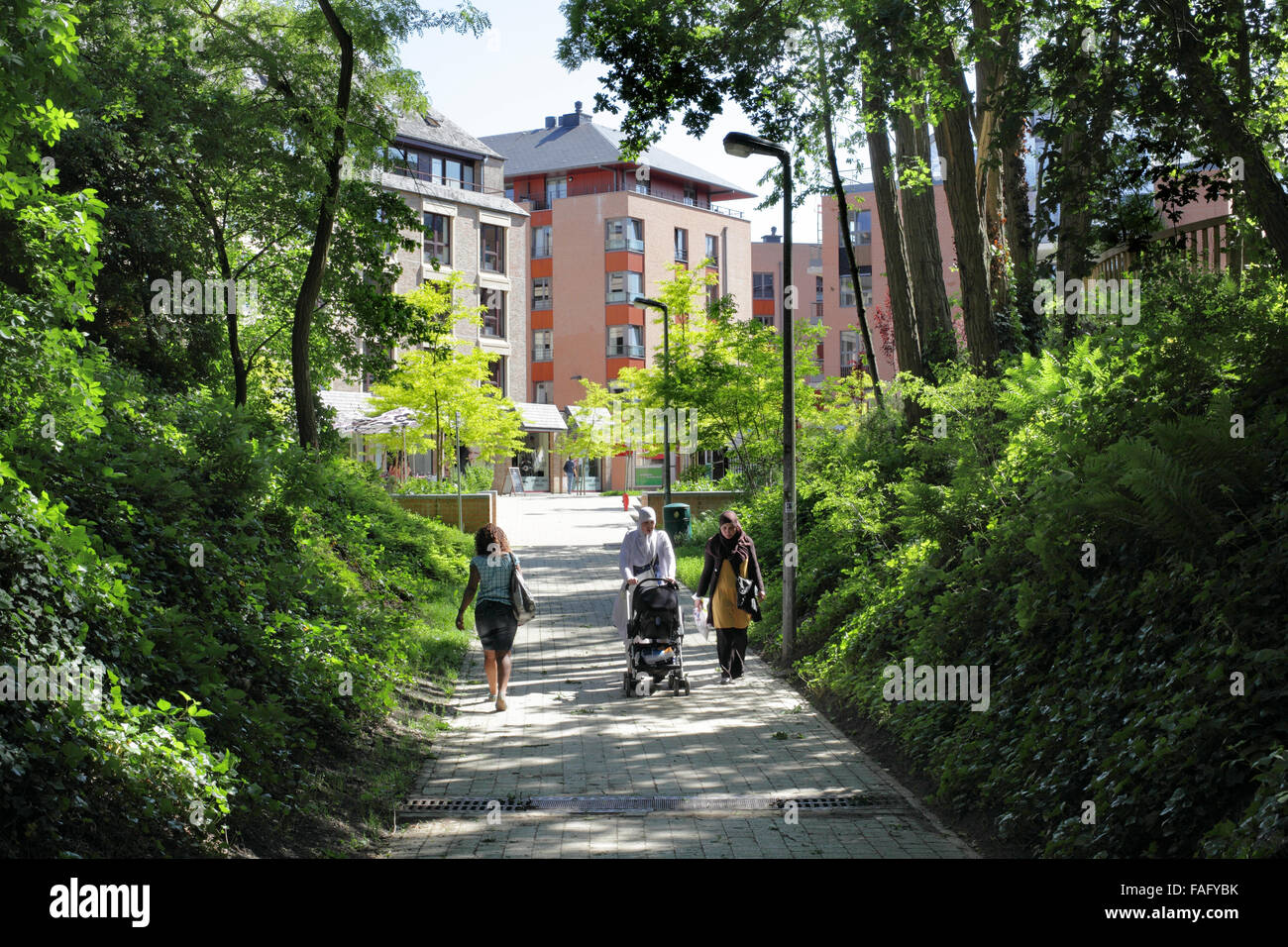 A pedestrian and cycle route into the centre of Louvain-la-Neuve, a Belgian new town with a traffic-free town centre. - Stock Image