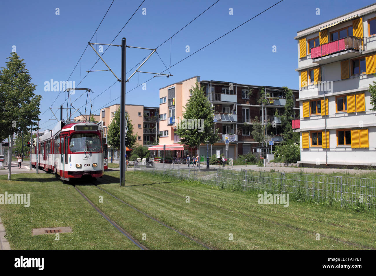tram and housing in the green suburb of vauban freiburg im breisgau stock photo 92549264 alamy. Black Bedroom Furniture Sets. Home Design Ideas