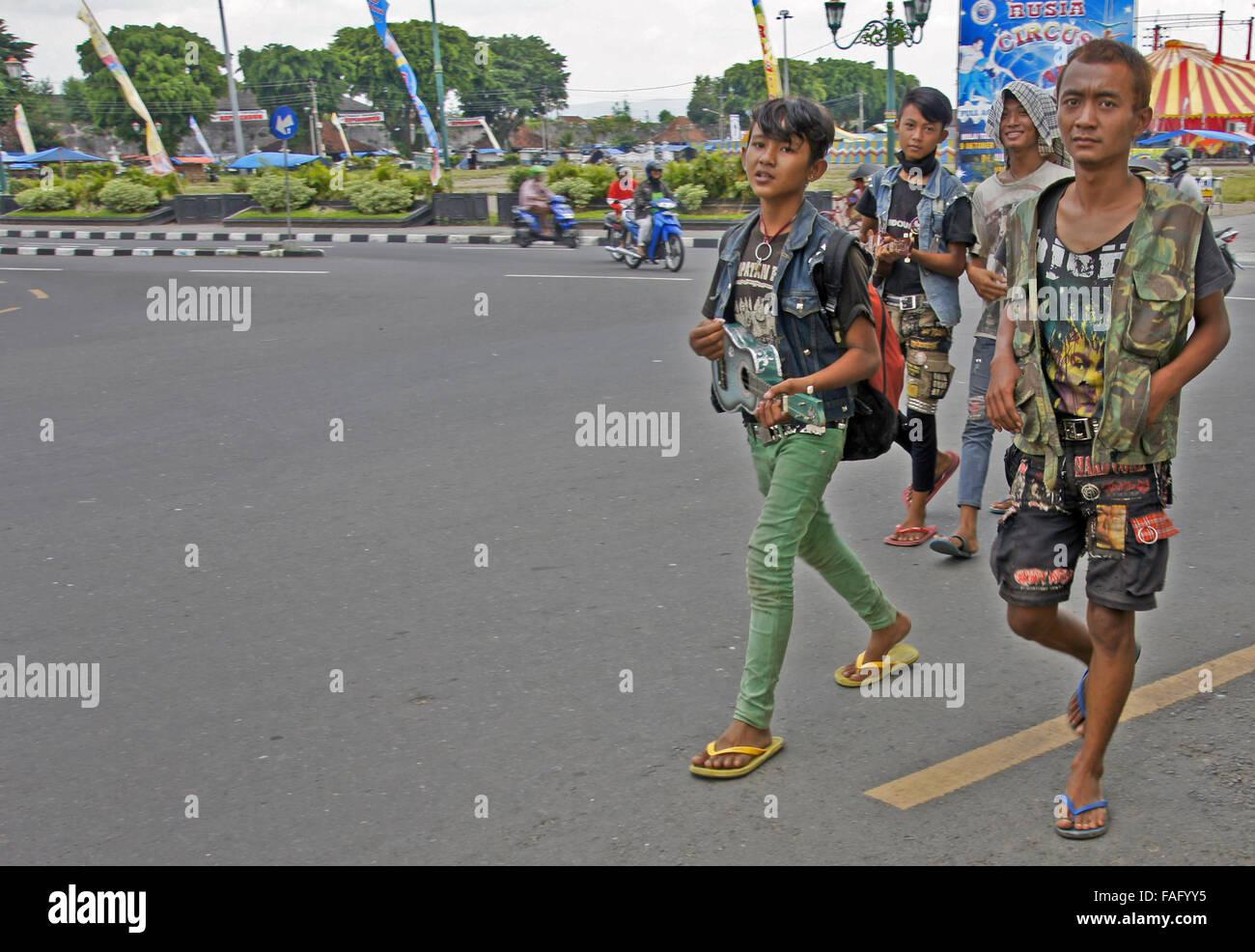Javanese punks in street - Stock Image