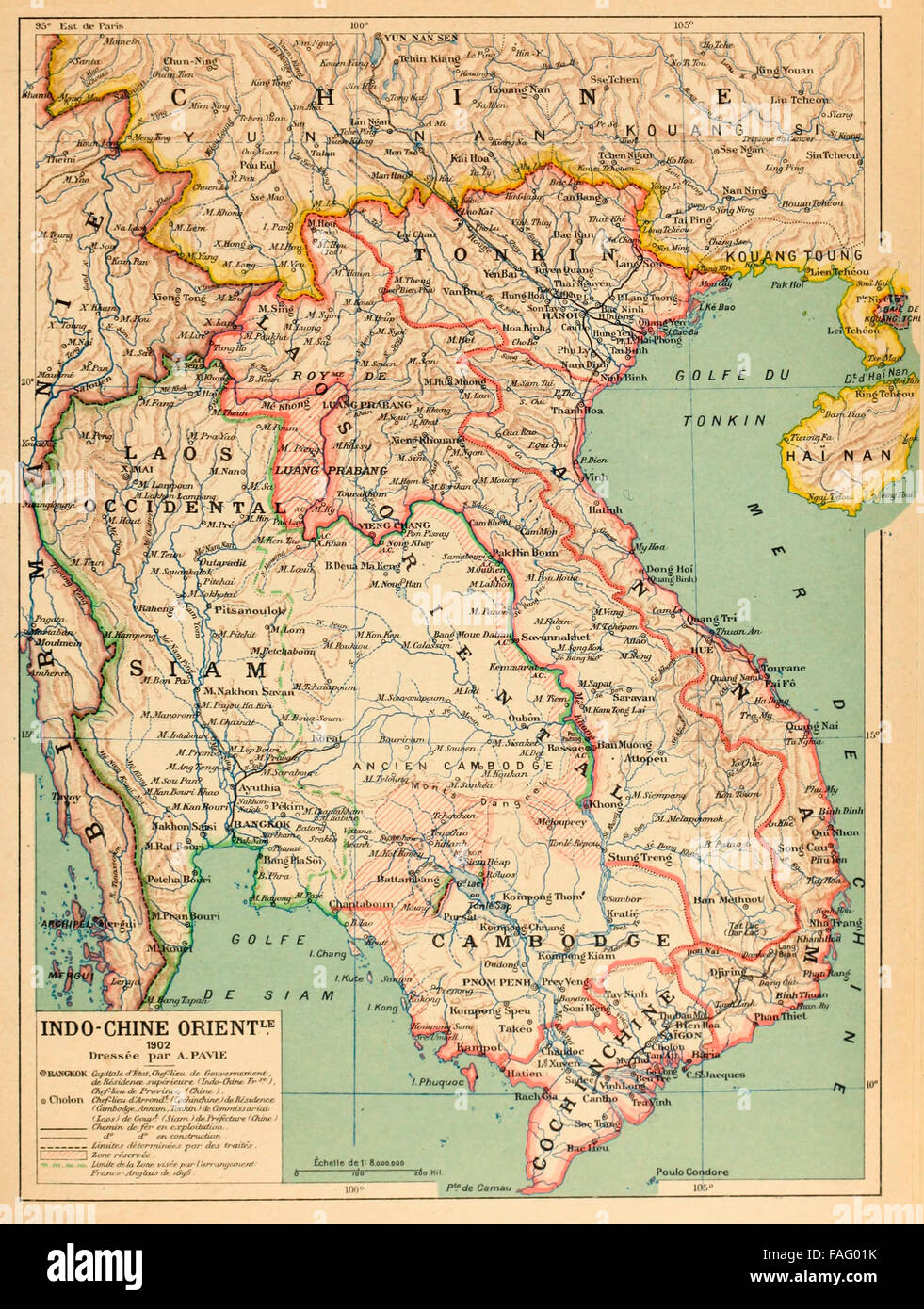 Indo-Chine Orient - Map of French Indochina, circa 1890.  Text in French - Stock Image
