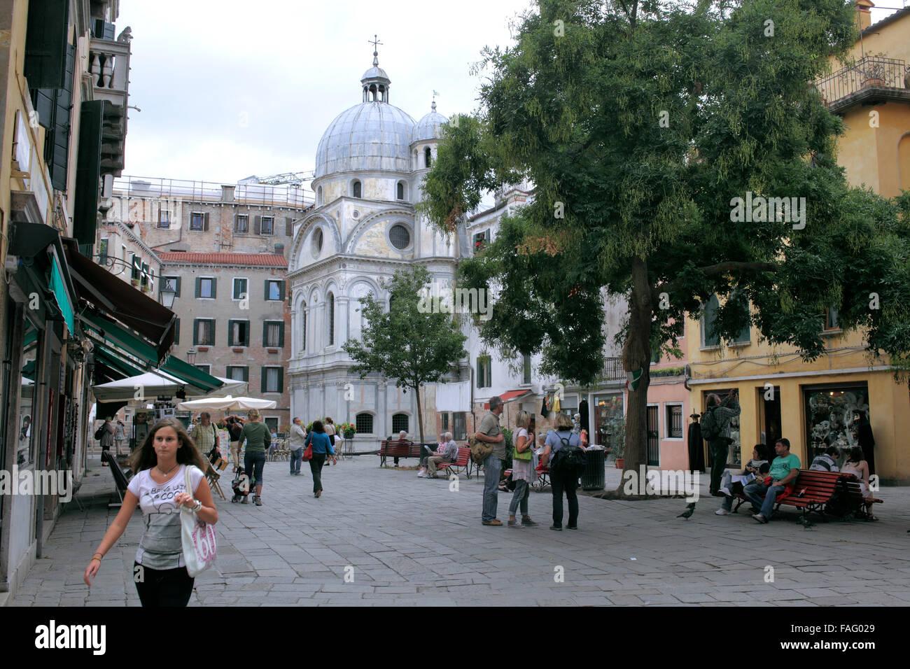 Campo Santa Maria Nova, a small square in Venice next to the fifteenth century church of Santa Maria dei Miracoli. - Stock Image