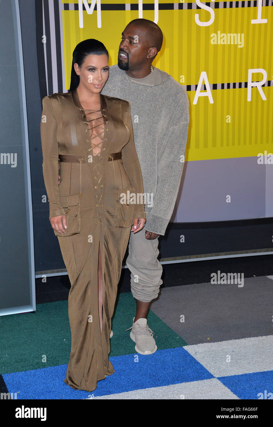 LOS ANGELES, CA - AUGUST 30, 2015: Kim Kardashian & Kanye West at the 2015 MTV Video Music Awards at the Microsoft - Stock Image