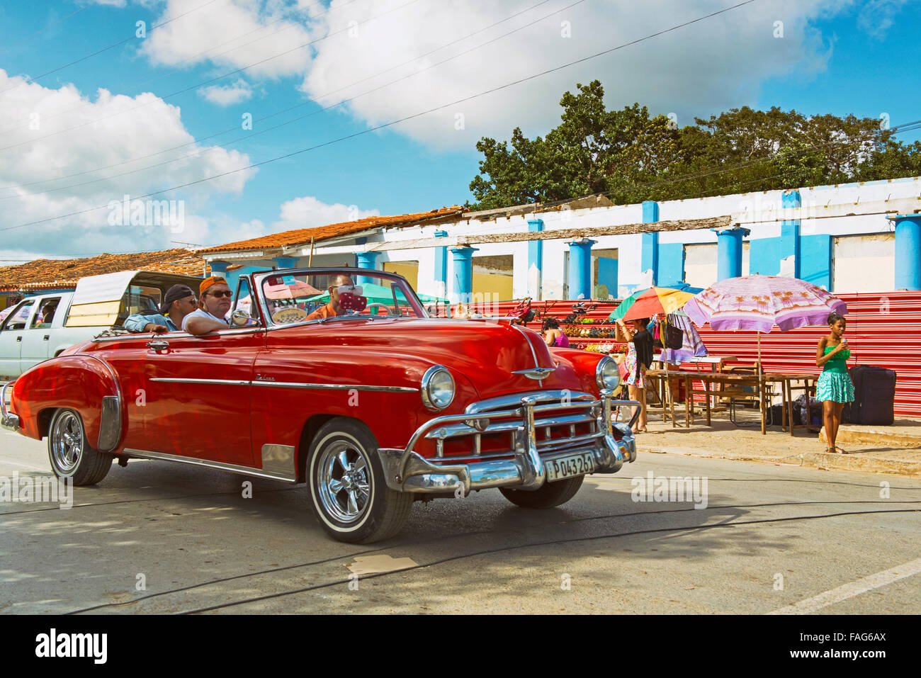 Classic Car Cuba, Vintage Old Taxi Tour through the town of Vinales - Stock Image