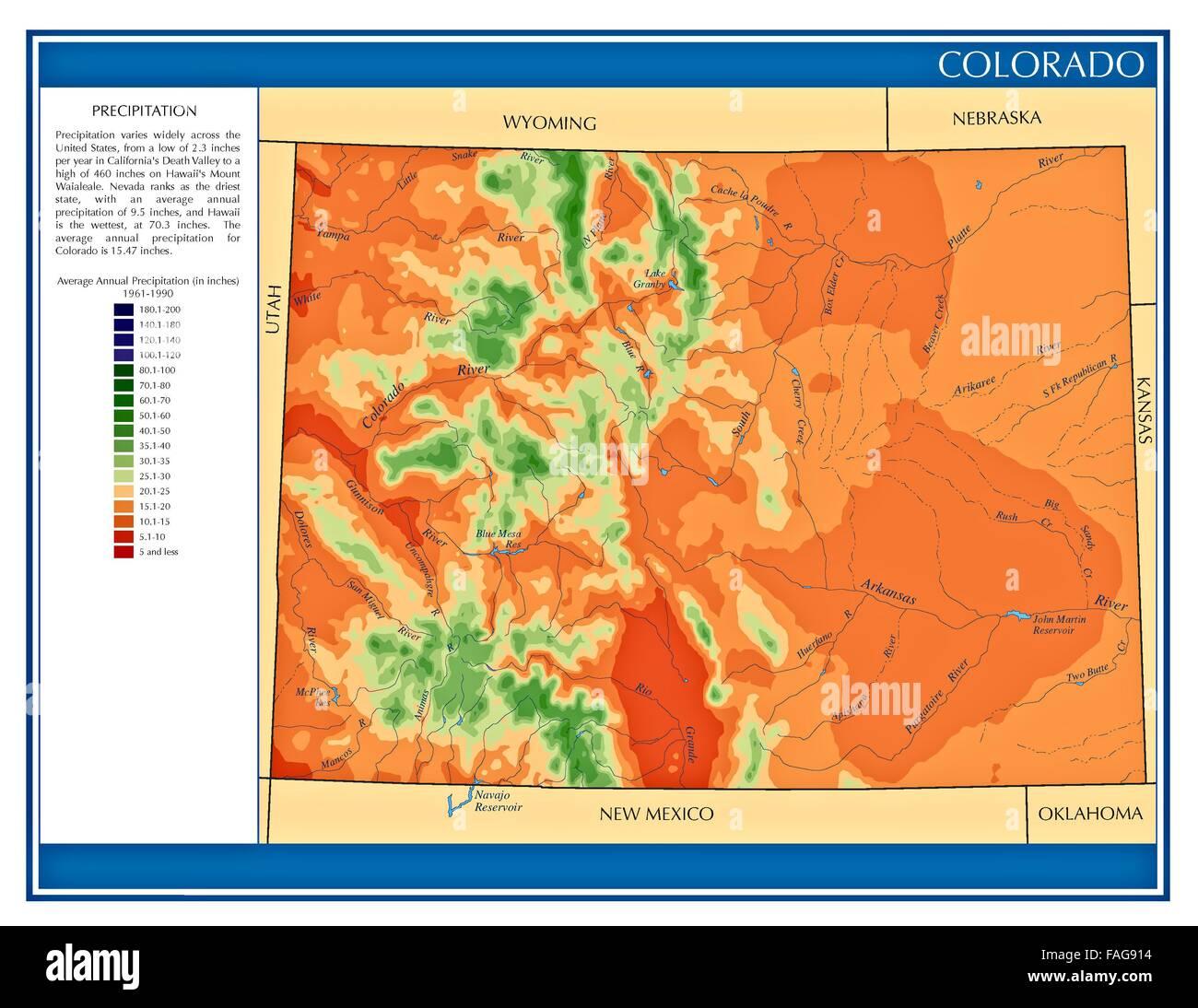 Colorado United States water precipitation statistics map by ...