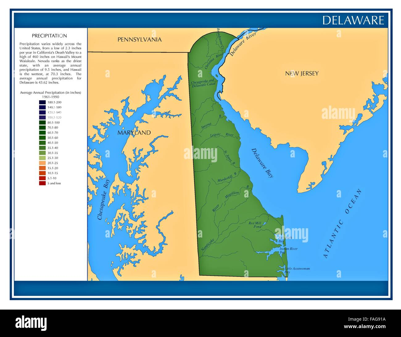 Delaware United States water precipitation statistics map by State ...